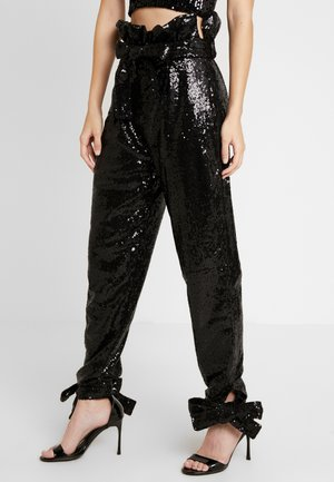 SPARKLING TIE PANTS - Bukse - black