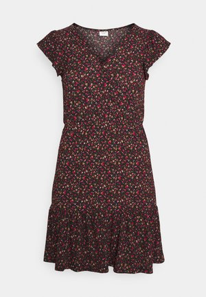 JDYGITTE SVAN CAPSLEEVE DRESS - Denní šaty - black/pink