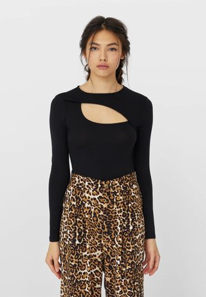 MIT CUT OUTS - Long sleeved top - black