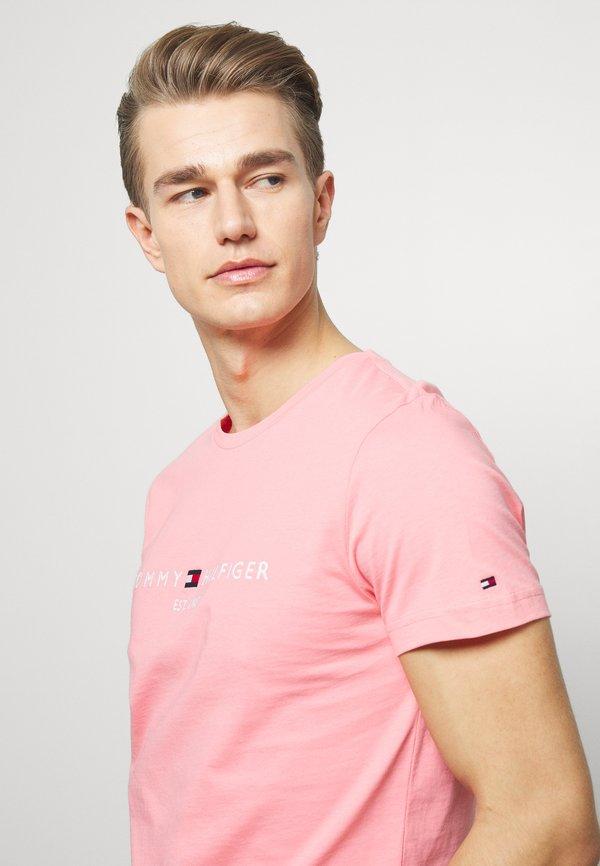 Tommy Hilfiger LOGO TEE - T-shirt z nadrukiem - pink/rÓżowy Odzież Męska HVBX