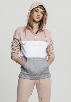 LADIES COLOR BLOCK  - Hoodie - lightrose/grey/white