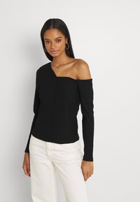 Forever New - ANGULAR TIPPED SHOULDER - Long sleeved top - black - 0