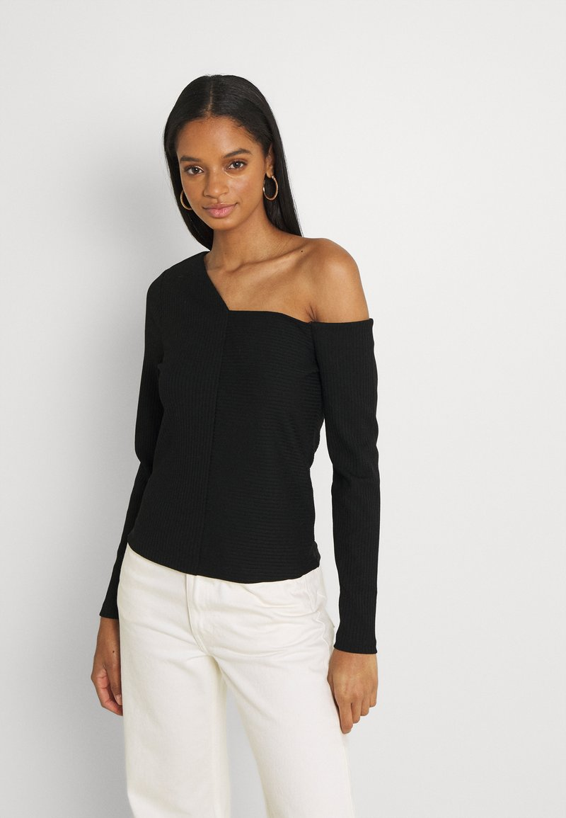 Forever New - ANGULAR TIPPED SHOULDER - Long sleeved top - black