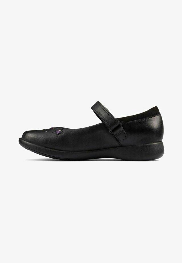 ETCH BRIGHT - Ballerina's met enkelbandjes - black leather