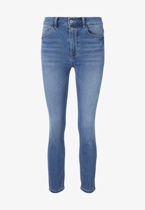 TOM TAILOR JEANSHOSEN KATE SLIM JEANS IN ANKLE-LÄNGE - Slim fit jeans - mid stone bright blue denim