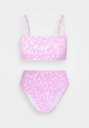 STRAPPY CRINKLE BANDEAU TOP AND HIGH LEG BOTTOMS SET - Bikiny - pink