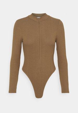 ZIP FUNNEL BODY - Long sleeved top - brown