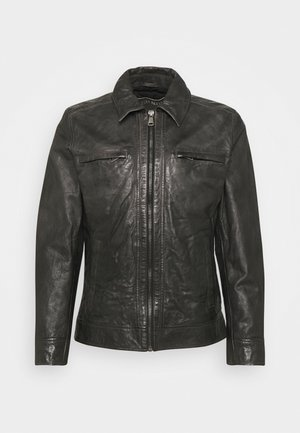 BENO - Leather jacket - dark anthracite