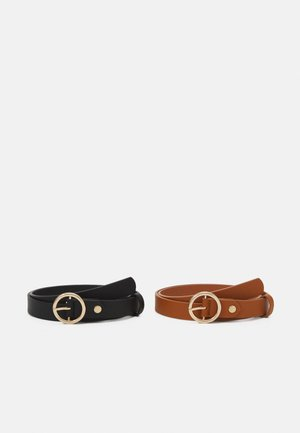 2 PACK - Belt - black/cognac