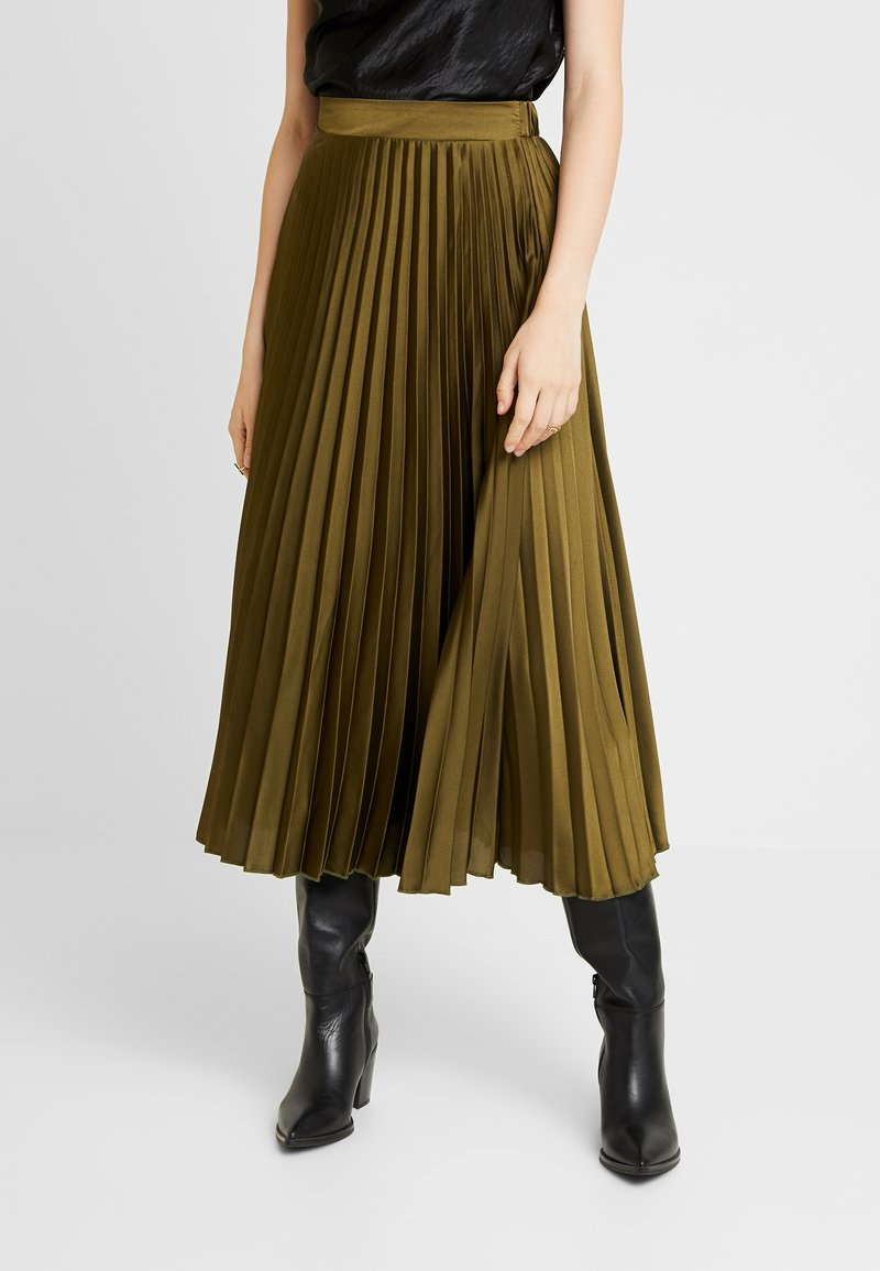 New Look - PLEATED MIDI - A-snit nederdel/ A-formede nederdele - dark khaki