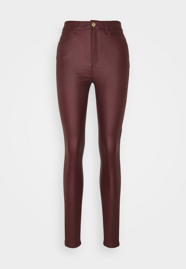 NMCALLIE SKINN COATED PANTS - Trousers - zinfandel
