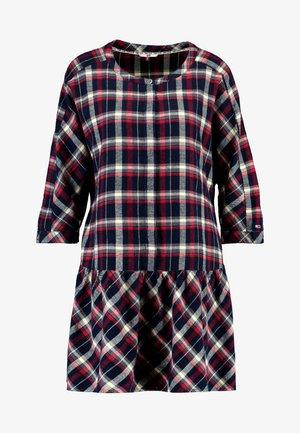 3/4 SLEEVE DROP WAIST DRESS - Freizeitkleid - flame scarlet / multi check