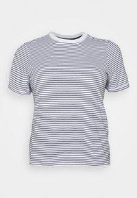 Pieces Curve - PCRIA FOLD UP TEE - Print T-shirt - bright white/maritime blue - 0