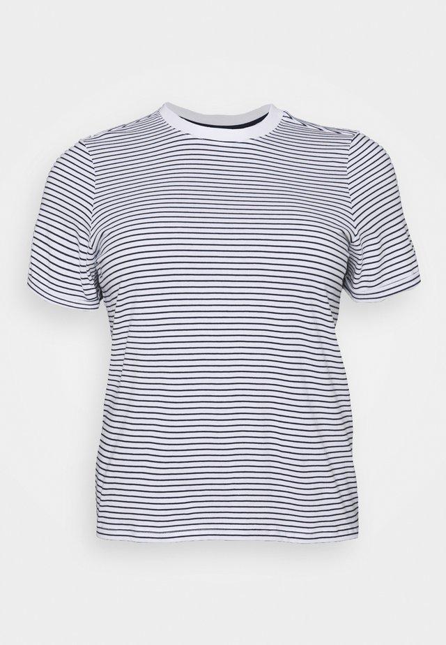 PCRIA FOLD UP TEE - Print T-shirt - bright white/maritime blue