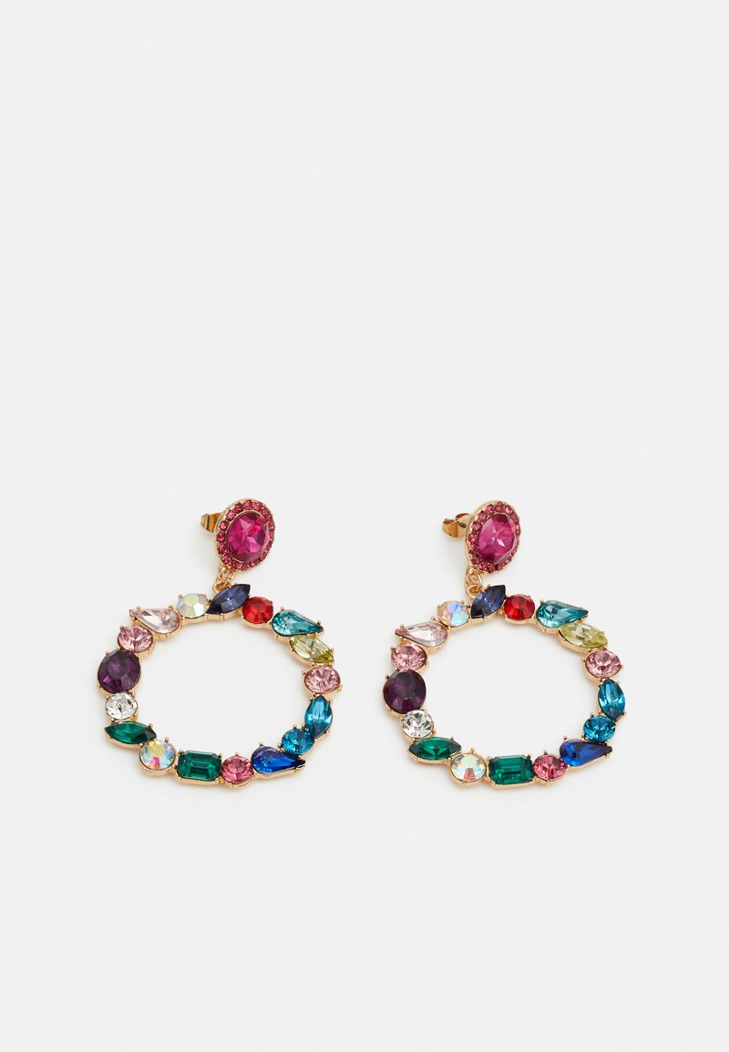 Pieces - PCMOLLYA EARRINGS  - Øredobber - gold colour/pink-multi