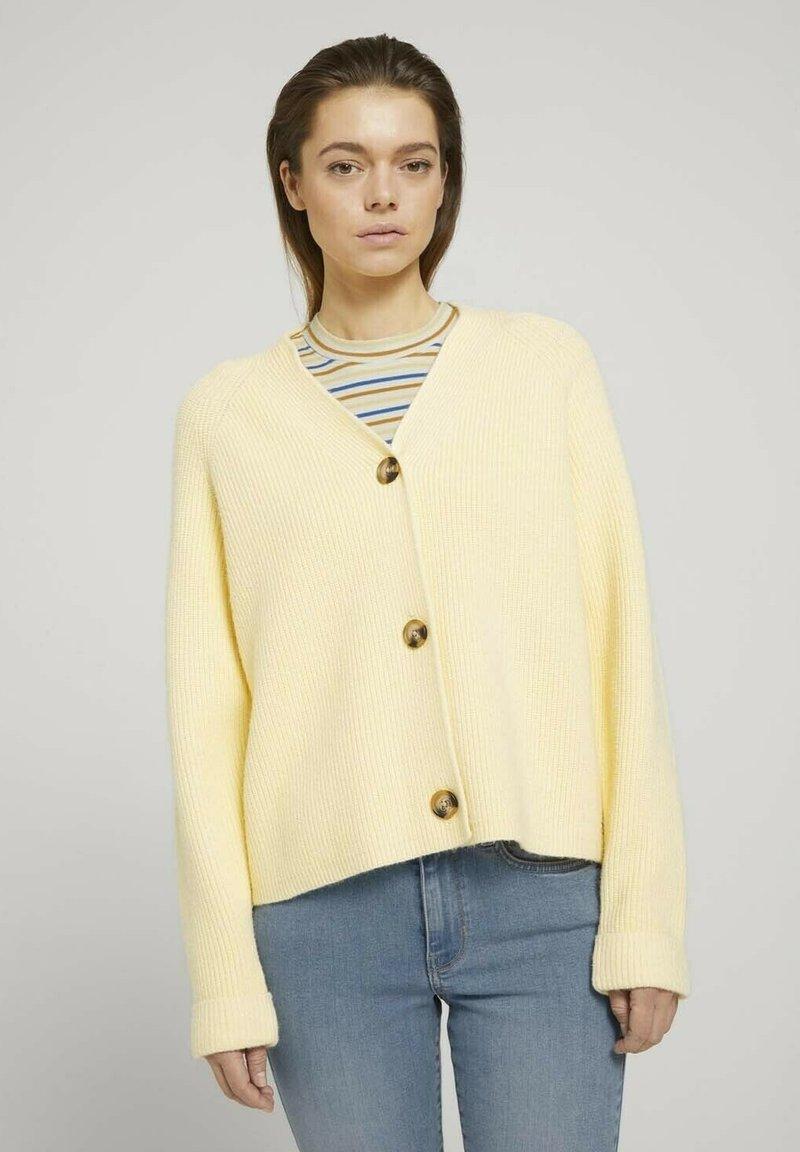 TOM TAILOR DENIM - Cardigan - soft yellow