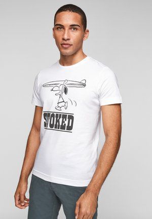 Print T-shirt - white stoked placed print