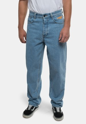 BAGGY - Straight leg jeans - mottled turquoise