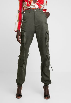 HIGH WAISTED CUFFED TROUSERS - Kalhoty - khaki