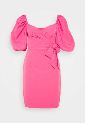 WRAP FRONT DRESS WITH VOLUMINOUS SLEEVE - Day dress - hot pink