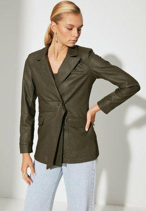 Faux leather jacket - green