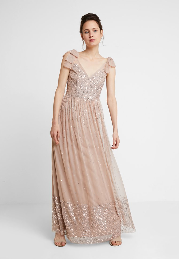 Maya Deluxe - SCATTER EMBELLISHED MAXIDRESS WITH BOW SHOULDER DETAIL - Ballkjole - taupe blush