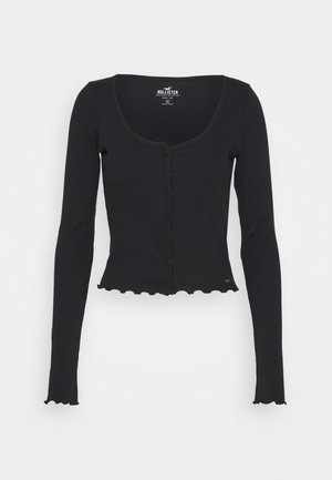 BUTTON THRU BABY TEE - Long sleeved top - black