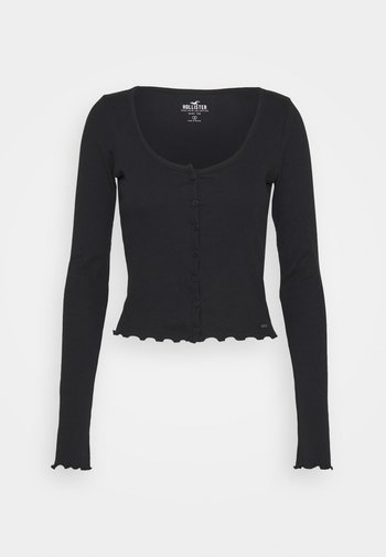 BUTTON THRU BABY TEE - Long sleeved top - black