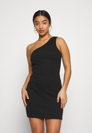 MINI ONE SHOULDER BANDAGE DRESS - Vapaa-ajan mekko - black