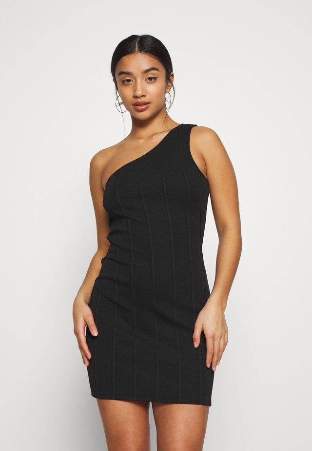 MINI ONE SHOULDER BANDAGE DRESS - Robe d'été - black