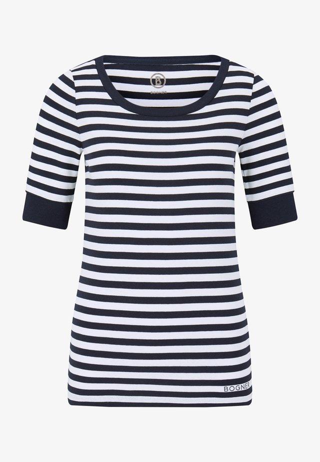 T-shirt imprimé - navy-blau/weiß