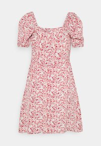Missguided - DITSY RUCHED PUFF SLEEVE SKATER DRESS - Vestido informal - red - 1