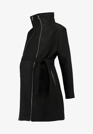 COAT DOUBLE ZIPPER - Classic coat - black