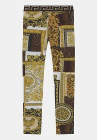 Versace - PATCHWORK HERITAGE ANIMALIER - Leggings - Trousers - gold/brown/white - 1