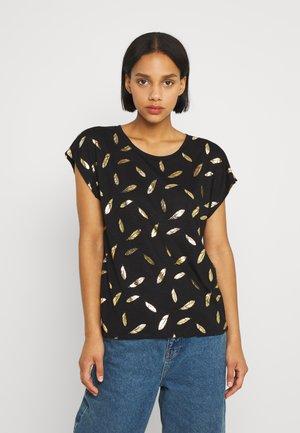 ONLFEATHER - T-shirt imprimé - black/gold