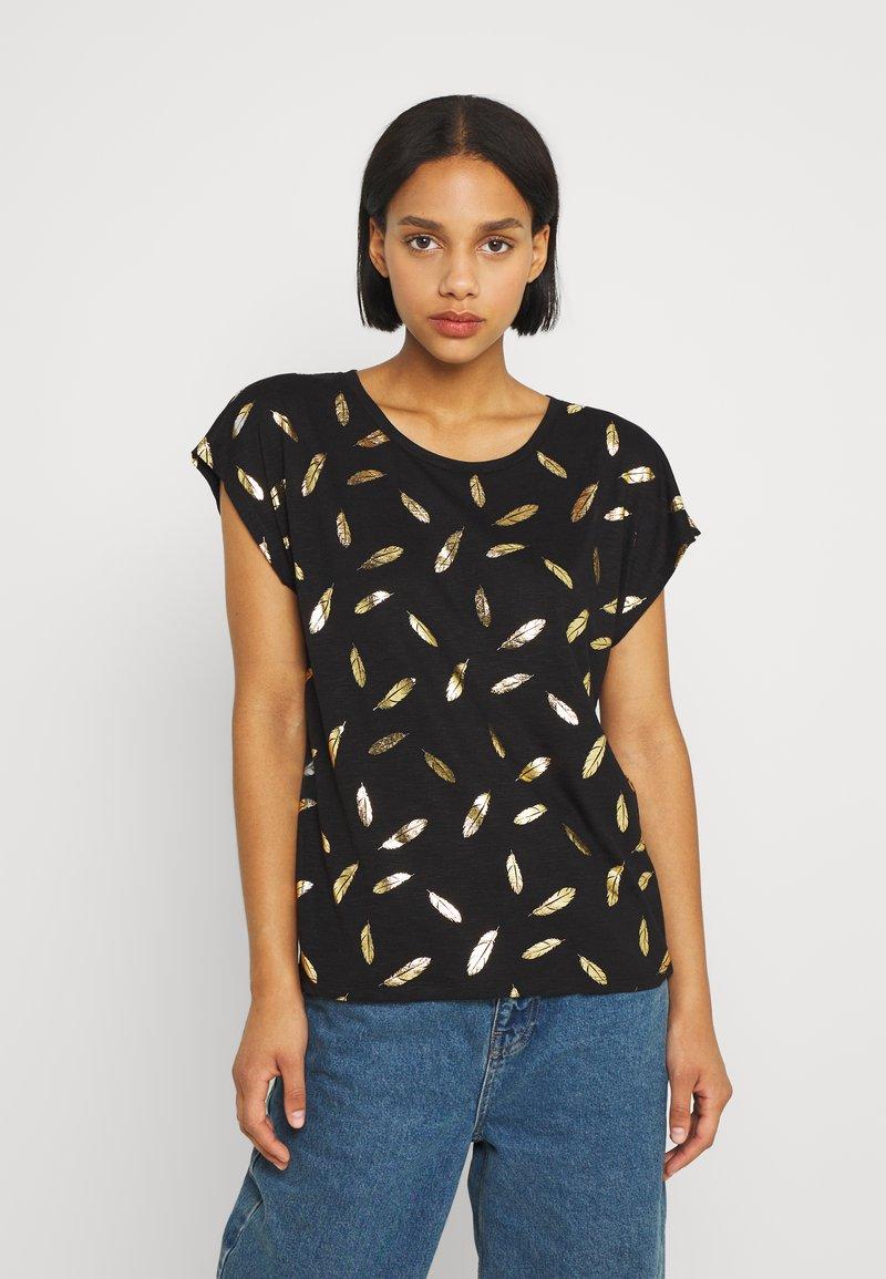 ONLY - ONLFEATHER - Print T-shirt - black/gold