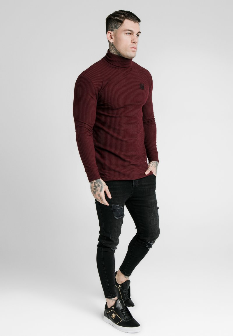 SIKSILK - LONG SLEEVE BRUSHED TURTLE NECK - Svetr - burgundy