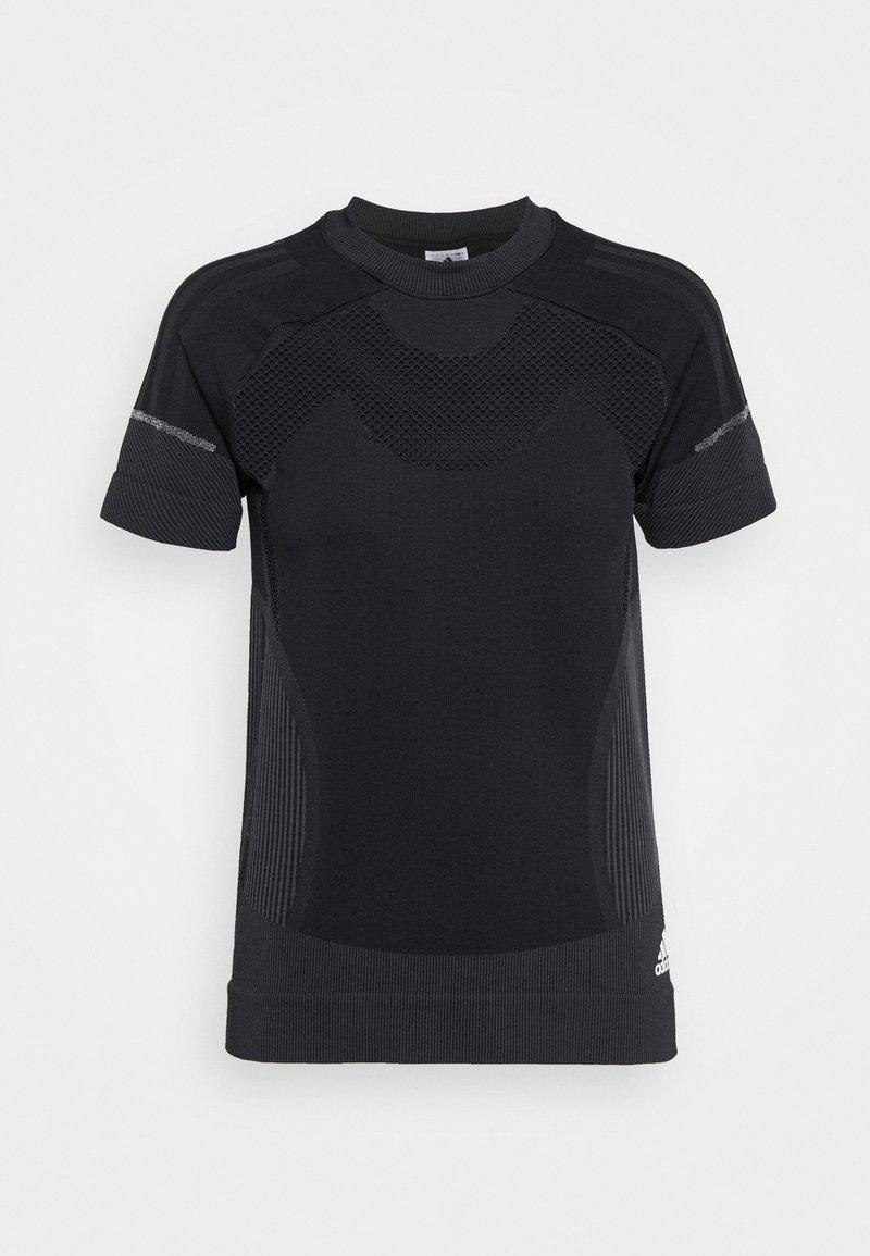 adidas Performance - PRIMEKNIT TEE W - T-shirt z nadrukiem - black/dgsogr