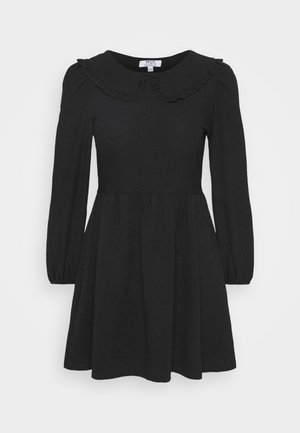 COLLAR DETAIL FAUCHETTE FIT AND FLARE DRESS - Day dress - black