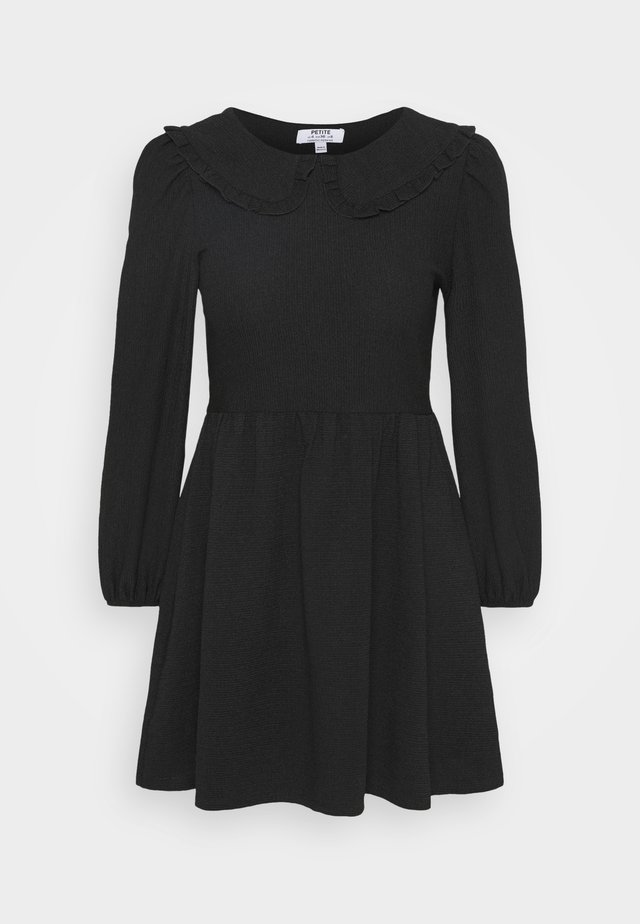 COLLAR DETAIL FAUCHETTE FIT AND FLARE DRESS - Vestido informal - black