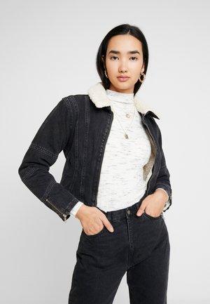 SEAM DETAIL BORG JACKET - Denim jacket - washed black