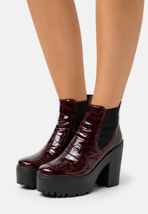 BRIA CHELSEA UNIT - High heeled ankle boots - burgundy