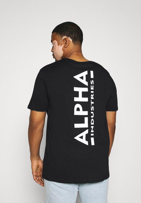 Alpha Industries BACK PRINT - T-shirt z nadrukiem - black/czarny Odzież Męska WYTA