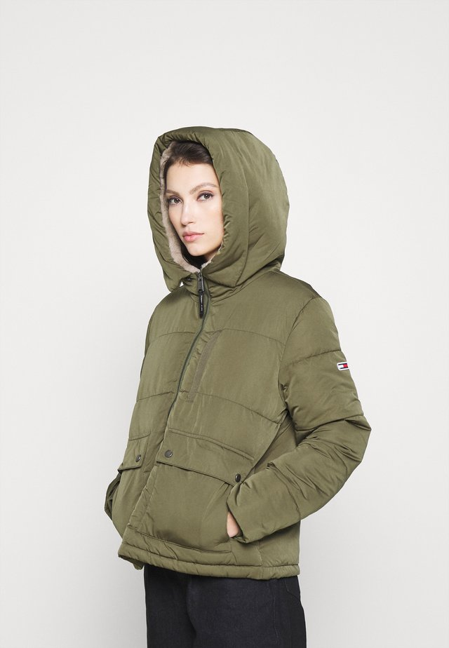 HOODED JACKET - Kurtka zimowa - olive tree
