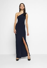 Club L London - ONE SHOULDER RUCHED WAIST MAXI DRESS - Vestido de fiesta - navy - 1