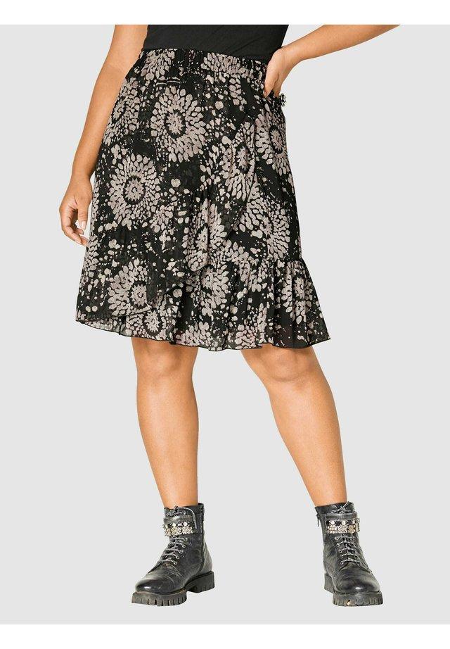 A-line skirt - schwarz,natur