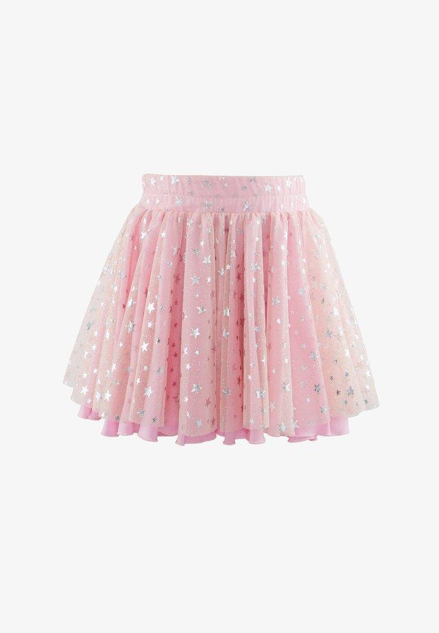 WITH SILVER STAR DECOR - Veckad kjol - pink