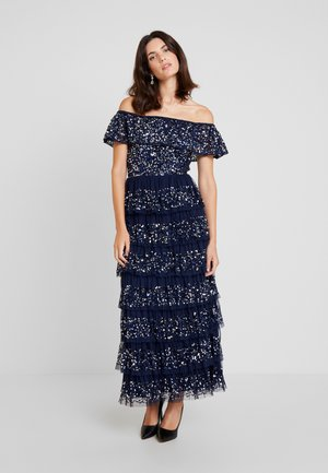 ALL OVER EMBELLISHED TIERED BARDOT MIDAXI DRESS - Galajurk - navy