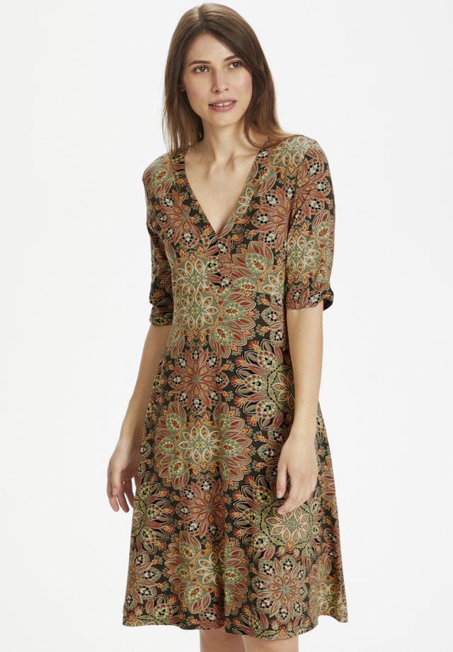 Jersey dress - flower print w. army