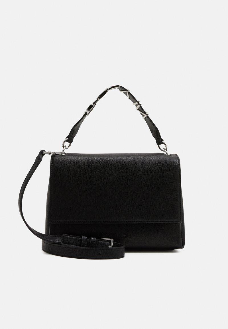 Calvin Klein - FLAP SHOULDER BAG - Handbag - black